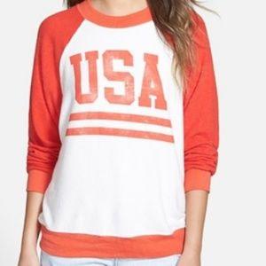 Wildfox USA jumper sweatshirt red & white